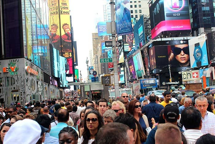 Crowds in New York
