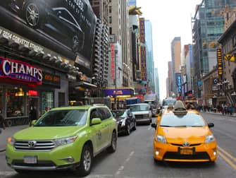 Lime-green taxis and yellow cabs
