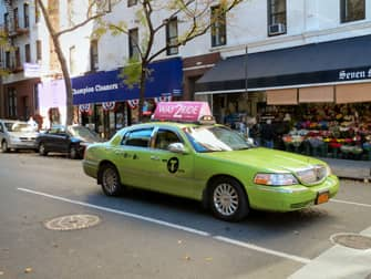Lime-green taxi New York