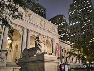 Public Library in NYC by night