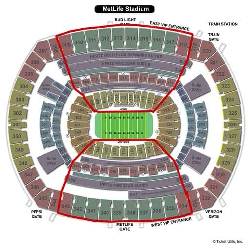 New York Jets - MetLife Stadium Seating Chart